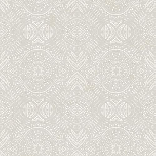 Chesapeake 3118-12664 Java Light Grey Medallion Wallpaper, Gray (Java Wallpaper)