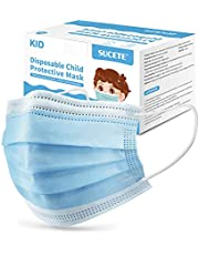 50pcs Kids Disposable Face Masks 3-Layer Breathable Protective Safety Filter Mask Nose/Mouth Coverings with Elastic Earloops for Kids