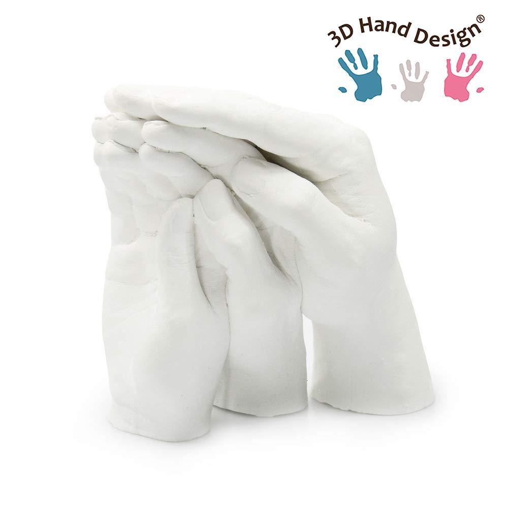 Tambi/én para ni/ños y Adolescentes Molde de Yeso para Familia con Base de Pizarra 13 x 38 cm Lucky Hands/® Familia Set para moldeo Trio+ Set de moldear 3D para 3-4 Manos Adultas