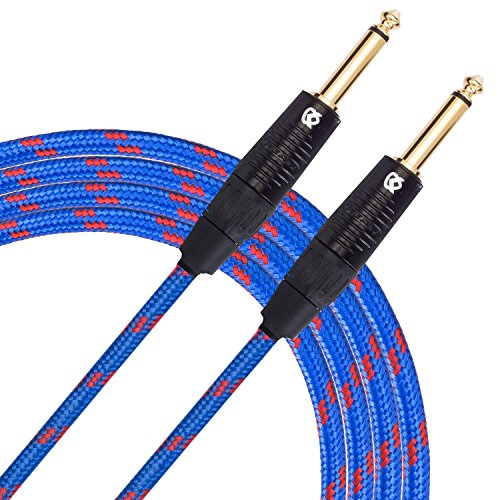"KLIQ Guitar Instrument Cable, 10 Ft - Custom Series with Premium Rean-Neutrik 1/4"" Straight Gold Plugs, Blue/Red Tweed"