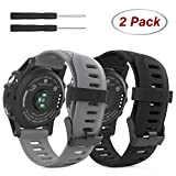 Garmin Fenix 3 / Fenix 5X Watch Band, [2PACK] MoKo Soft Silicone Replacement