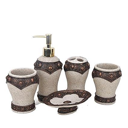 Amazon Com Victory Bath Vanity Accessories Set 5 Piece Resin Soap