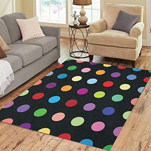 Pinbeam Area Rug Dot Polkadots Poka Pattern Pokadot Color Polka Pastel Home Decor Floor Rug 5' x 7' Carpet ()