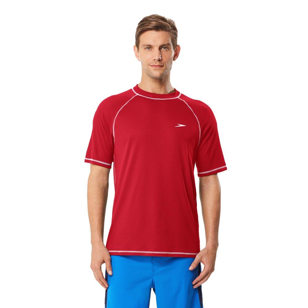 8edb7f37e0 Amazon.com : Speedo Men's Short Sleeve Easy Rash Guard Swim Shirt with Uv  and UPF 50+ Protection : Clothing