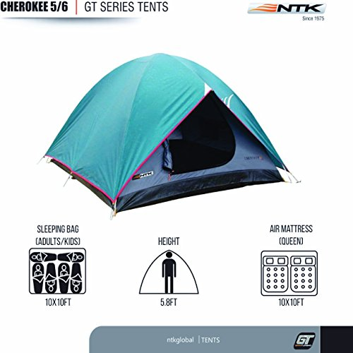 NTK Cherokee GT 5 to 6 Person 9.8 by 9.8 Foot Outdoor Dome Family Camping Tent 100% Waterproof 2500mm, Easy Assembly, Durable Fabric Full Coverage Rainfly - Micro Mosquito Mesh for Maximum Comfort. by NTK (Image #1)