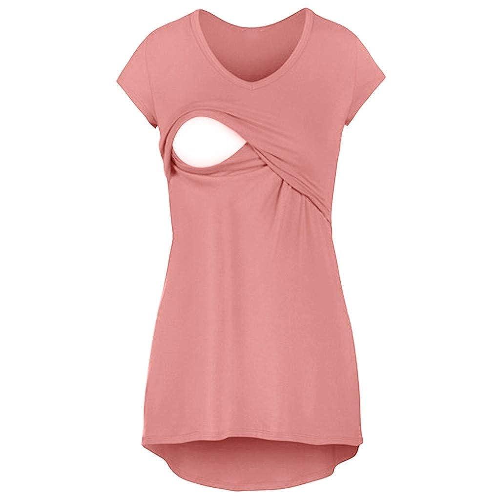 Juliyues Damen Umstandstop Stilltop Schwangeres Stillen Nursing Schwangerschaft Top Umstandsmode Lagendesign Wickeln-Schicht Stillshirt Mutterschaft T-Shirt Bluse Umstandsshirt