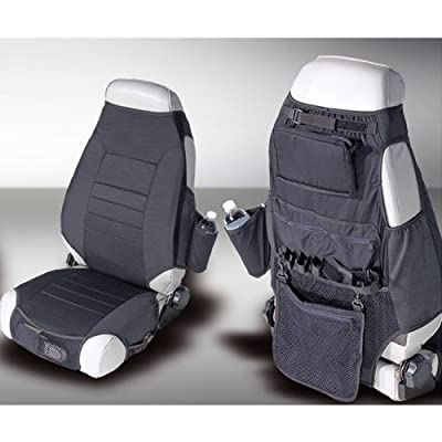 Rugged Ridge 13235.01 Black Fabric Seat Protector with Storage - Pair: Automotive