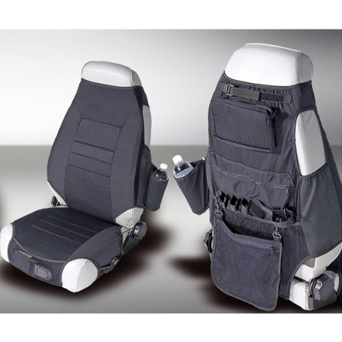- Rugged Ridge 13235.01 Black Fabric Seat Protector with Storage - Pair