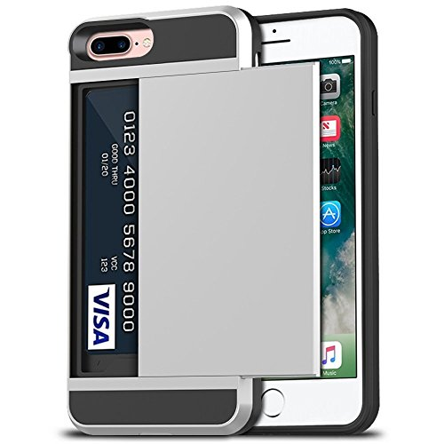 iPhone 7 Plus Case, iPhone 8 Plus Case, Anuck Shockproof iPhone 7/8 Plus Wallet Case [Card Pocket][Slide Cover] Anti-Scratch Protective Shell Armor Rubber Bumper Case with Card Slot Holder - Silver