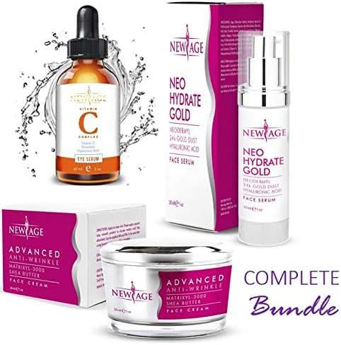 New Age Skin Care Beauty Box (Set of 3) Gift Set Vitamin C And Hyaluronic Kit Eye Serum Neo Hydrate Gold Face and Neck Serum Advanced Anti-Wrinkle Cream Anti Aging Retinol Moisturizer