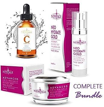 New Age Skin Care Beauty Box Set of 3 Gift Set Vitamin C And Hyaluronic Kit Eye Serum Neo Hydrate Gold Face and Neck Serum Advanced Anti-Wrinkle Cream Anti Aging Retinol Moisturizer