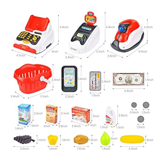 SR TOYS Cash Register for Kids with Checkout Scanner,Card Reader, Credit Card Machine, Play Money and Food Shopping Play