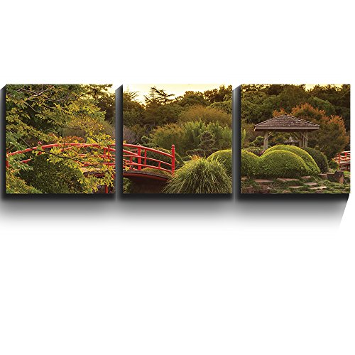3 Square Panels Contemporary Art Japanese footbridge and garden Three Gallery ped Printed Piece x3 Panels