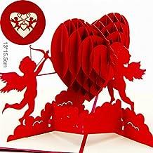 BonusLife 3D Cards Pop Up Greeting Cards Birthday Gift Card Cupid Heart