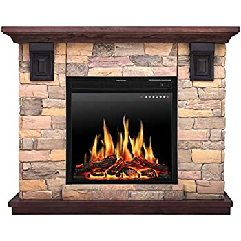 amazon com jamfly electric fireplace wall mantel in faux stone rh amazon com stone electric fireplace tv stand stone electric fireplace suites