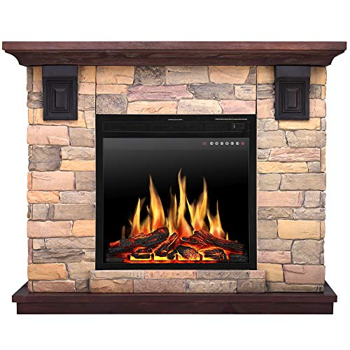 JAMFLY Electric Fireplace Wall Mantel in Faux Stone, Birch Wood Heater with Multicolor Flames, TV Stand, Standing Fireplace with Remote Control, 750/1500W JAMFLY
