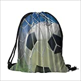 printing Drawstring Gift Bag Green Field Grass Success Blue Sky Ball Sports Lover Home Design for Travel,Family,Dorm 15'W x 18.5'H