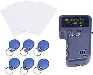 Handheld RFID Card Copier 125KHz ID (EM4100/HID/AWID) Duplicator Reader Writer with 5Pcs Writable Keychain and 5Pcs Writable Card Contactless Card Type
