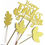 Happy Thanksgiving Cake Topper Maple Leaves Cupcake Topper Fall Harvest Cake Decoration