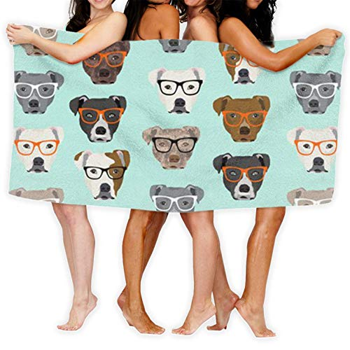 Microfiber Sand Free Thin Beach Towel Blanket, Pitbull in Glasses Outdoors Microfiber Quick Dry Travel Towel - Ideal Fast Drying Towels for Travel, Camping, Beach, Backpacking, Swimming