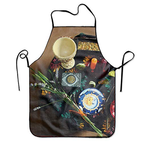 Dark Witch Occult Pagan Wiccan Adjustable Bib Apron Adult Home Kitchen Apron Chef Apron for Men and Women