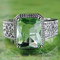 Sumanee 925 Sterling Silver Women Green Emerald Gemstone Ring Wedding Jewelry Size 6-11 (11)