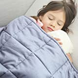 Amy Garden 7 Layers Boys & Girls 100% Cotton Preminum Weighted Blanket (36x48 Inch, 5 lbs for 40-70 lbs Individual, Light Grey) | 2.0 Kids Heavy Blanket