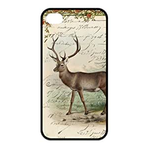 iPhone 4 4S Case,Cute Deer High Definition Artistic Design Cover With Hign Quality Rubber Plastic Protection Case