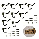 10 Pcs Vintage Bronze Single Coat Hooks Wall Mounted Single Hat Towel Clothes Hooks Hangers for Bath Kitchen Garage Heavy Duty with 20 Pcs Screws