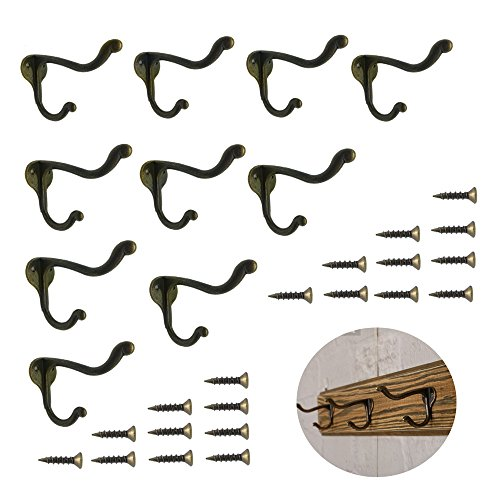 (10 Pcs Vintage Bronze Single Coat Hooks Wall Mounted Single Hat Towel Clothes Hooks Hangers for Bath Kitchen Garage Heavy Duty with 20 Pcs Screws)
