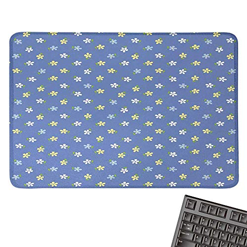dWhite and Yellow Cute Small Daisy Flowers Spring Garden ThemeComfortable Mousepad 15.7