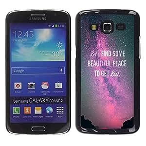 TopCaseStore / la caja del caucho duro de la cubierta de protección de la piel - Purple Sky Milky Way Text - Samsung Galaxy Grand 2 SM-G7102 SM-G7105