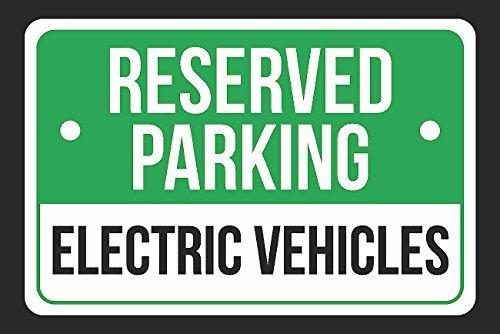 Reservado aparcamiento vehículos eléctricos impresión verde ...