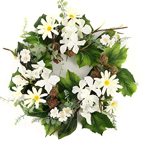 Signs of Summer Raspberry White Hydrangea and Daisy 12 Inch Candle Ring Small Wreath Use Year Round Every Day Decoration for Kitchen Or Dining Area Traditional to Farmhouse Table Top - Ring Hydrangea