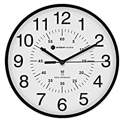 Ambient Weather RC-1200WBDN 12 Atomic Radio Controlled Wall Clock, White/Black with Inner Minute Markers, White / Black / Inner Markers