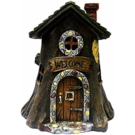 Special T Imports Light Up Fairy Garden House Tree Stump