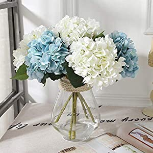 Silk Hydrangea DIY Gifts Wedding Christmas Decor for Home Fake Floristics Plastic Household Products Artificial Flowers Rattan,Light Yellow 2