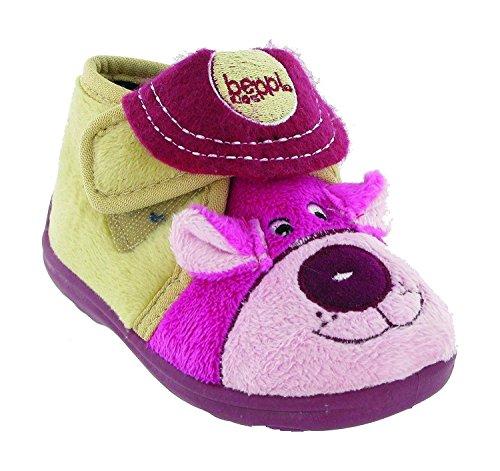 Mirak Girls Bungle Touch Fastening Puppy Design Slipper Pink Mehrfarbig