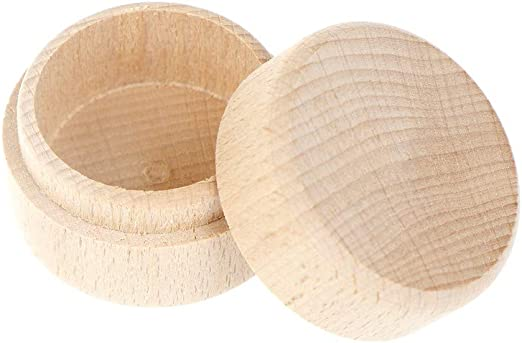 Round Wooden Wedding Ring Jewelry Trinket Box Wood Storage Container Case Cheap