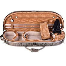 ADM Full Size 4/4 Half Moon Oblong Shape, Deluxe Lightwight Sturdy Violin Carry Case with Back Strap