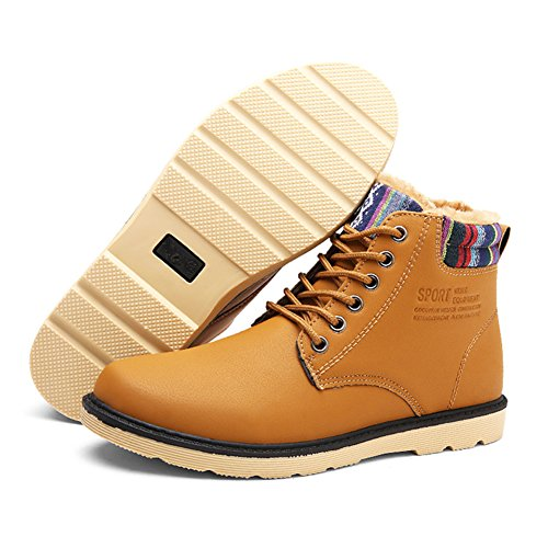 Shoes Shoes Boots Boots Winter Worker Winter Men's Men Casual hibote Yellow Warm Ankle Outdoor Cotton Walking Plush Shoes Lining Leather Shoes q4d1Cd