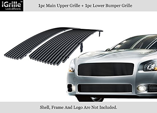 (APS Compatible with 2009-2014 Nissan Maxima Stainless Steel Black 8x6 Horizontal Billet Grille Insert Combo N87774J )