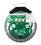 "Hitachi 115430 7-1/4"" Circular Saw Blades, 3-Pack, 24T Framing/Ripping VPR Blades, High Performance Micro Grain Tungsten Carbide, 5/8"" Diamond Arbor"