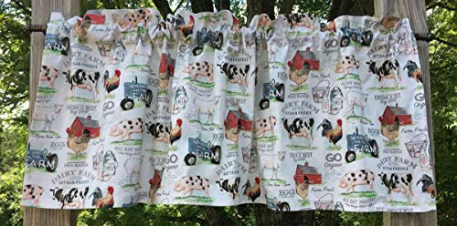 Farm Animals Tractor Red Barn Cow Free Range Shop Local Organic Chicken Rooster Pig Hog Milk Dairy Cows Meat & Eggs Cream Handcrafted Curtain Valance