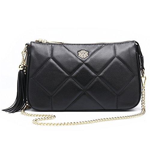 Black Lambskin Shoulder Bag - Lamskin Women Shoulder Cross Body Bag Fashion Animal Shell Style Clutch Purse Small Handbag from ANA LUBLIN
