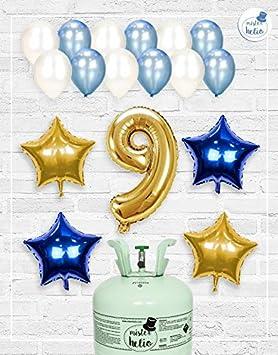 Bombona de Helio Mrhelio+Globos cumpleaños Niño números (Cumple 9 años niño)