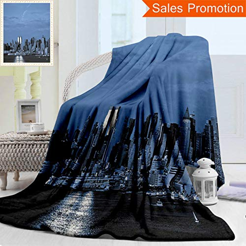 "Unique Double Sides 3D Print Flannel Blanket Urban New York City Skyline Panorama Nighttime Riverscape Building Modern Metropolis Slat Cozy Plush Supersoft Blankets for Couch Bed, Twin Size 60"" x 70"""