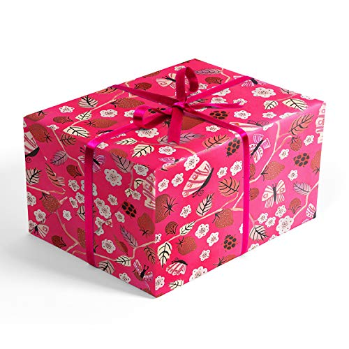 - Pink Ladybugs and Berries Folded Wrapping Paper, 2 feet x 10 feet Folded Gift wrap with Butterflies, Wrap & Revel®