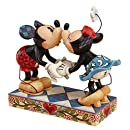 """Enesco Disney Traditions by Jim Shore Mickey Mouse Kissing Minnie Stone Resin Figurine, 6.5"""""""