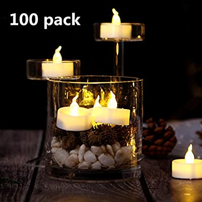 Flameless Candles, AGPtek 100PCS LED Flickering Flashing Tea lights, Battery Operated For Wedding Party Home Decoration